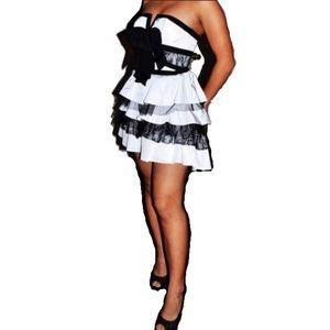 Bebe mini Ricki ruffle strapless dress | xxs